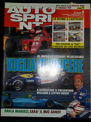 AUTOSPRINT 1991 n.9 CON 4 CARTOLINE  F1 la nuova Williams  Rallye del Ciocco