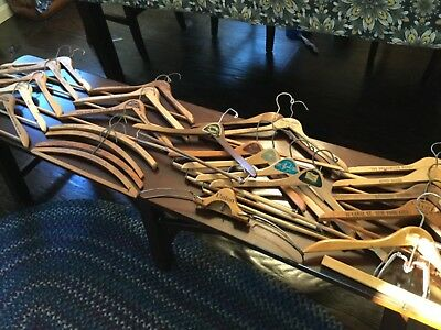 Lot of (25) Vintage Wooden Clothes Hangers Advertising, DC, LONDON, NYC PLUS!!!!