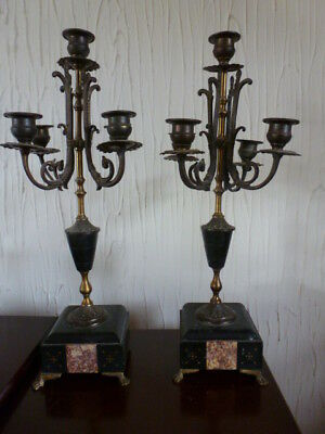 Pair French marble candelabra poss for mantel clock
