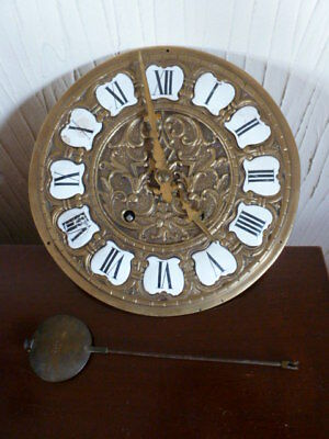 Old heavy French clock movement & dial spares / repair