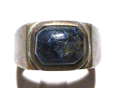 Unique Blue Natural Stone Art Deco Mens Womens Sterling Silver Ring Band Sz 8.75