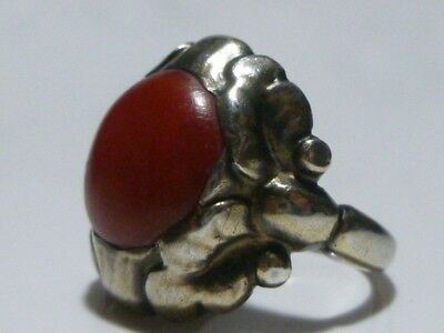 Georg Jensen #11 830 Silver Denmark Danish Sterling Silver Red Coral Ring Band