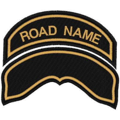Custom Embroidered Small Harley Hog Road Name Patch