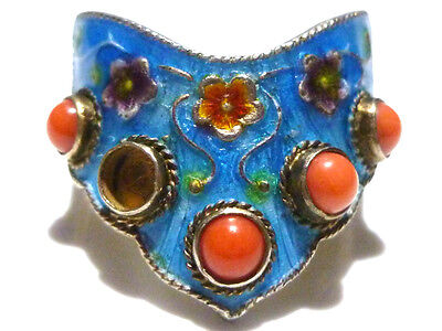 Asian China Chinese Export Sterling Silver Enamel & Coral Womens Ring Band