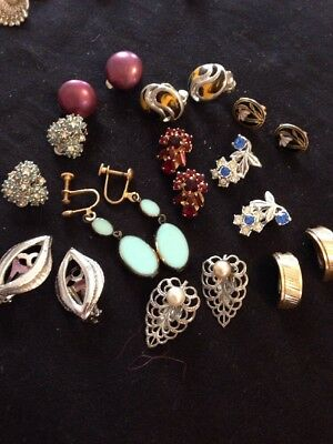 job lot 10pair Of Vintage Earrings Various Colours  & Sizes With Mixed Stones
