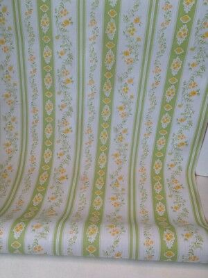 Vintage 1960s Wallpaper- White w/Sweet Yellow Flowers (old stock)