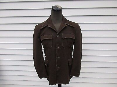 Vintage 70s Brown Polyester Leisure Suit Jacket 42 R