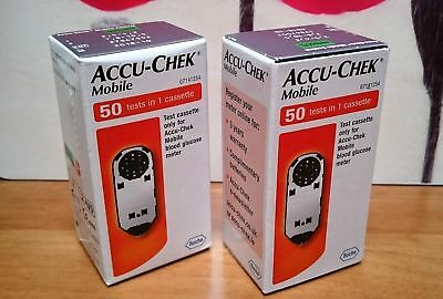 ACCU-CHEK MOBILE CASSETTE 50 tests X 2 boxes (100 tests in total) NEW SEALED