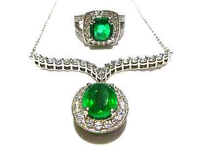 Designer 14K White Gold Cubic Zirconia Synthetic Emerald Cocktail Ring Necklace