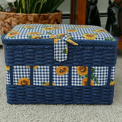 Blue Wicker Sewing/Picnic Basket Handled Sunflowers on Gingham CUSHIONED Fabric