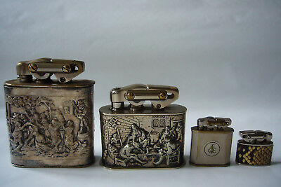 1) 4 rare old KW petrol lighters different sizes in 4 auctions - large