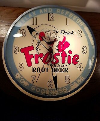 Vintage Frostie Root Beer Light-Up Electric Clock