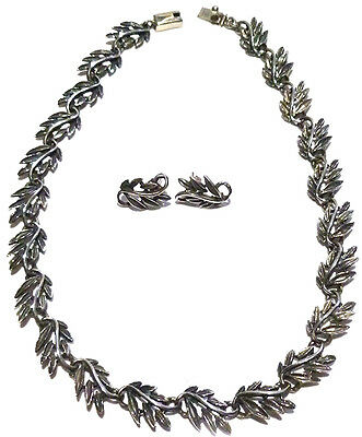 Vintage Heavy Mexico Mexican Flower Floral Leaf Leafy Necklace Earrings Set Lot