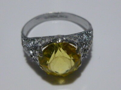 Vintage Vibrant Yellow Sterling Silver Filigree Art Deco Womens Ring Band Sz5.25