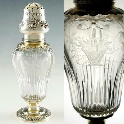 Antique French Sterling Silver Sugar Caster Shaker, Gilt Vermeil & Cut Crystal