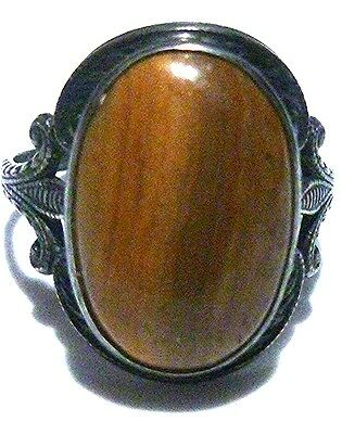 Unique Tigers Eye Or Wood Like Art Nouveau Deco Sterling Silver Ornate Ring