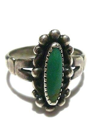 Old Antique Bell Trading Post Southwestern Sterling Silver & Turquoise Ring