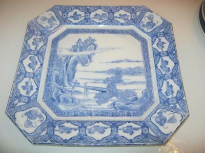 Stunning Large Antique Chinese Blue & White Porcelain Octagonal Plate
