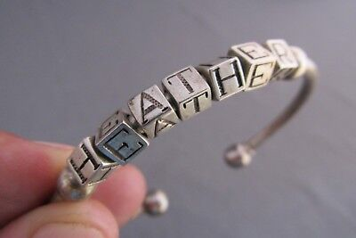 Vintage Heavy Sterling Child Play Block Bead Heather Cuff Bangle Bracelet 20.8G