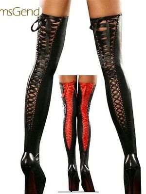 Womens Black Stockings Hold Ups Pvc Wet Look Faux Leather Shiny Lace Thigh High