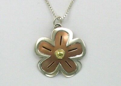 "Far Fetched Sterling Silver, Copper & Brass ""flower power"" Necklace"