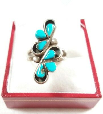 Zuni Mixed Metals Silver Multi Stone Turquoise Size 7 Ring/repair
