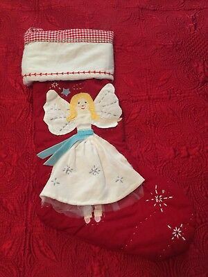 Pottery Barn Kids Angel Quilted Stocking Monogram Removed
