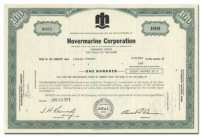 Hovermarine Corporation Stock Certificate (Hovercraft Maker)