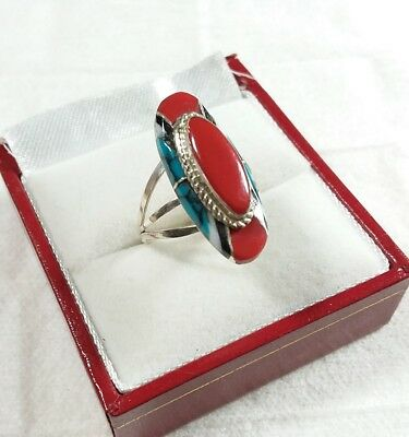 Zuni Signed Fm 925 Sterling Silver Coral Turquoise Onyx Size 6.5 Ring