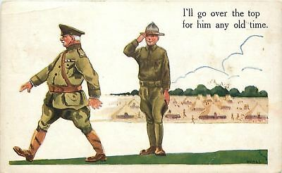 Bernhardt Wall~WWI Patriotic~Soldier Salutes Officer~I'll Go Over Top for Him
