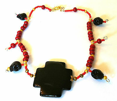 OH MY GOTH New Gothic Skull Necklace Black Agate Cross & Coral Bead Choker
