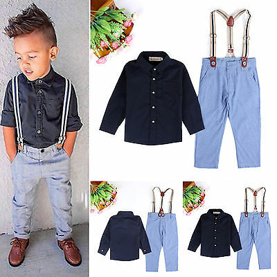 Gentleman Kids Boys Tops Shirt Coat Pants Party Wedding Formal Suit Outfits Set