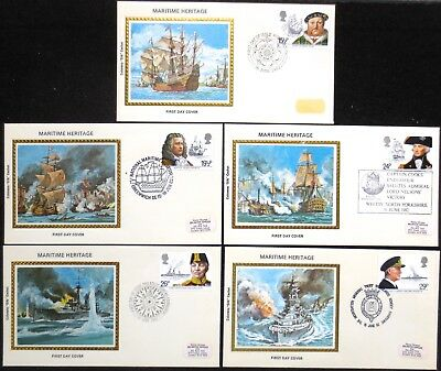 Great Britain - 1982 - Maritime Heritage - SG 1187/1191 on 5 FDC's