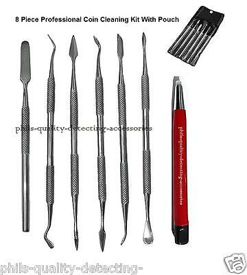 PQDA. Metal Detecting Finds Coin Cleaning Tool Kit, 8 x Piece Cleaning Tool Set.