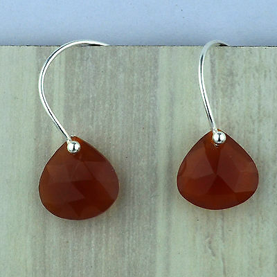 925 Sterling Silver carnelian gemstone earrings fine Jewelry 1.96 g