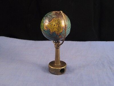 PENCIL SHARPENER VINTAGE ENAMEL FIGURAL GLOBE ATLAS WORLD MAP ON STAND 1930s