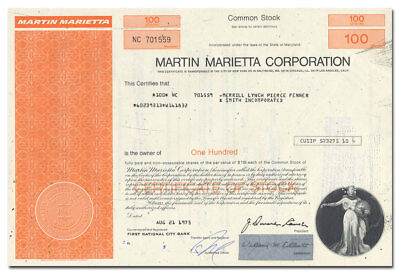 Martin Marietta Corporation Stock Certificate