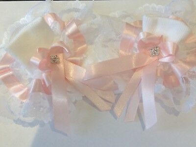 Handmade Extra frilly pink diamanté baby/girls socks various sizes