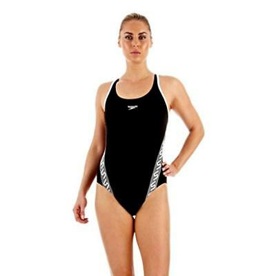 (TG. 50) Speedo Monogram MSBK AF Costume Intero da Donna, Nero (Black/White), 50