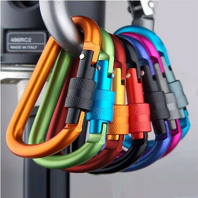 3Pcs Aluminum Snap Hook Carabiner D-Ring Key Chain Clip Keychain Hiking Camp