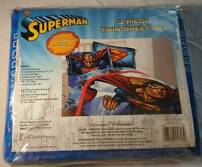 Superman 3-Piece Twin Sheet Set MAN OF STEEL - 1 Fitted, 1 Flat, 1 Pillow Case