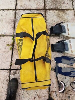 Canvas Scuba Diving Bag and selection of kit