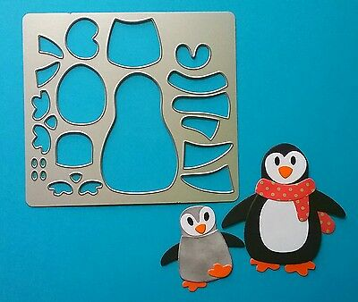 Penguin Mum Dad Baby Metal Die Cutter Christmas Scarf Card Topper