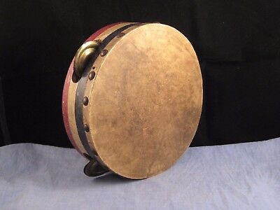 Lovely Antique Vintage Wood Tambourine Red White Blue Music Toy Band Instrument