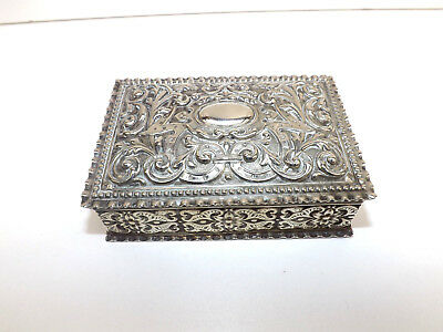Antique Silver Plated Desk Top Stamp/Staionery Box