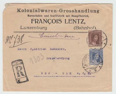 Luxembourg 1920 Registered Cover With Adverts Luxembourg-Gare To Neu-Ulm