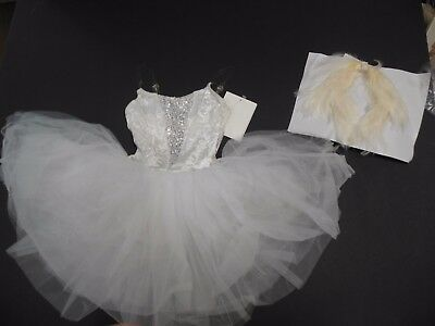 NWT White graduated tutu costume white velvet silver sequin inset int.CH w/hdpc