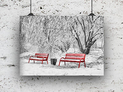 Snow Scene With Red Benches Black White And Red ,modern  Picture Poster Wall Art
