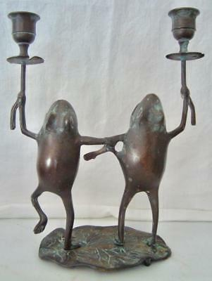 Vintage Dancing Frogs on Lily Pad Double Candle Holder Heavy Metal Green Patina