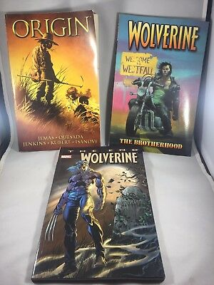 Marvel Wolverine Book Lot of 3-'Origin', 'The Brotherhood', 'The End'